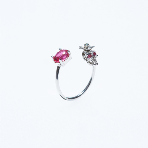 Ruby skull open ring