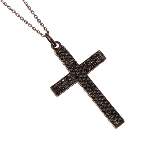 Cross necklace pave setting(black)